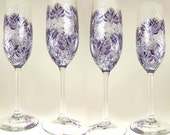 Hand-Painted Champagne Flutes Set of 4 - Silver and Indigo Blue Roses - Custom 25th Wedding Anniversary Champagne Toast Glasses Stemware