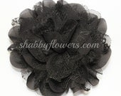 Black Chiffon & Lace Flower, Arabella Flower, 4 inch flower, Headband Supplies