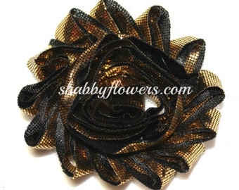 Shabby Flowers in Metallic Gold with Black, gold shabby flowers, wholesale shabby flowers