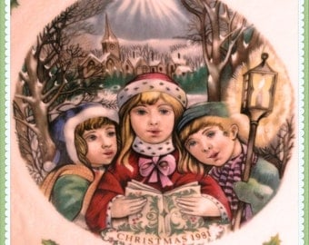 1981 Royal Doulton Christmas Plate, Victorian Carollers, English Bone China, Winter Scene