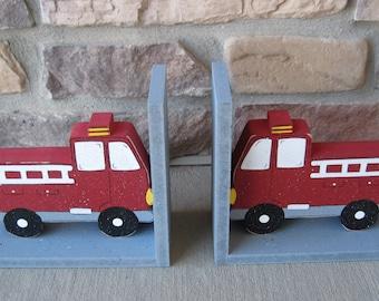 Fire Truck bookends for children library, bookshelf