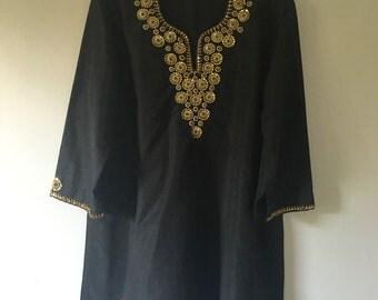 Vintage Indian Black Beaded Silk Tunic •  Vintage Top • Bohemian Top • Black  Tunic •  Free Size