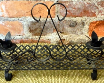 Mid Century Pierced Metal Candle Holder Vintage Black Punched Metal Centerpiece