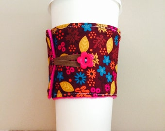 Coffee Cup Cozy, Coffee Cup Sleeve, Cup Cozy, Cup Sleeve, Reusable Coffee Sleeve - Autumn Floral Leaves [07]