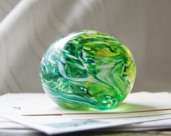 Paperweight in Lime and Forest Green