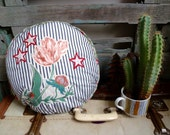 OOAK Applique, Giant Poppy and Stars, Collage, Round Cushion, Statement Cushion, Throw Pillow, Vintage & New Fabrics, Handmade Cushion