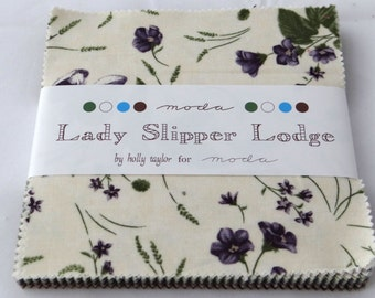 Lady Slipper Lodge charm pack Moda fabric precuts cottage prairie shabby quilting sewing Holly Taylor purple lavender romantic