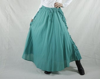 Boho Hippie Gpysy Full Circle Long Maxi Dusty Mint Green Light Cotton Skirt With Lining
