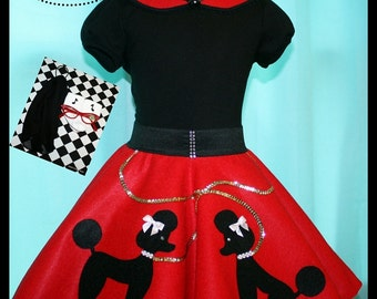 New! Size 3T-4T 6pc Poodle skirt outfit- Ready to Ship! Skirt,Hair scarf,Tee,Cat eye glasses,Petticoat,Music Note bobby socks!