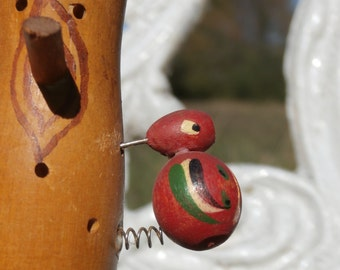 Strange Wooden Woodpecker Bird on Tree Figurine, Japan Made Vintage
