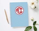 Monogram Mini Journal | Diagonal Stripes Pattern | Personalized Notebook | Custom Colors