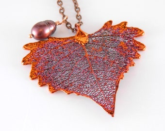 Copper Cottonwood Leaf and Pearl Necklace, Real Leaf Jewelry