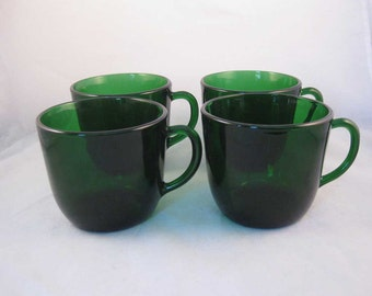 Vintage Emerald Forest Green Glass Flat Tea Cups/Punch Cups (4)