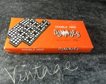 Vintage box of dominoes double nine