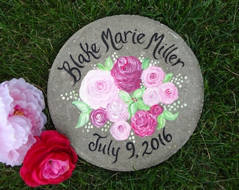 Baby Memorial Gift Stepping Stone - Garden Stone, Birthday Gift, PERSONALZIED Pink Peony Stepping Stone, Garden Gift, Baby Gift, Garden Gift