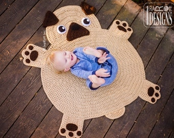 CROCHET PATTERN The Pugfect Pug Rug Nursery Mat Carpet PDF Crochet Pattern with Instant Download