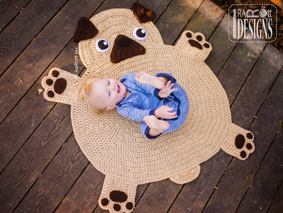 Crochet Pattern The Pugfect Pug Rug Nursery Mat Carpet Pdf