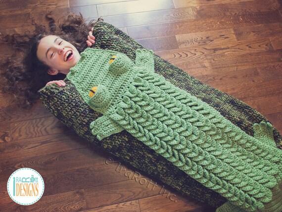 Crochet Pattern Snappy Simon Crocodile Sleeping Blanket Bag