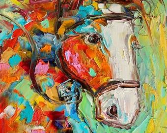 Original oil painting Horse portrait abstract impressionism fine art impasto on canvas by Karen Tarlton