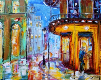 Fine art Print from image of oil painting New Orleans Jazz sound - print by Karen Tarlton