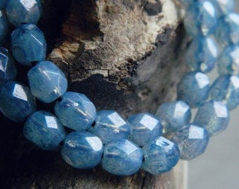 Czech Glass  Beads, Fire Polished beads, Faceted Round beads, Opal glass with Montana Blue luster, 6mm (40pcs) N E W