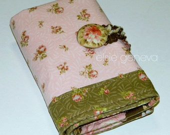Pink and Brown Roses Crochet Hook Case Spill Proof  Organizer Sewn in Zipper Pocket Button Closure - Personalized Option