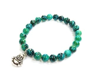Buddha Charm Bracelet in Chrysocolla Blue Green Beads, Meditation Jewelry, Yoga Bracelet, Gemstone Bracelet