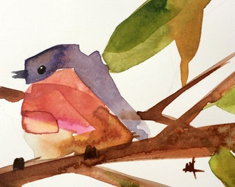 Robin no. 157 Original Bird Watercolor Painting by Angela Moulton 5 x 7 inch white 8 x 10 inch White Mat