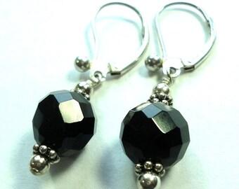 Black Onyx Earrings Black Faceted Ball Earrings w Solid Sterling Swing Back Earrings