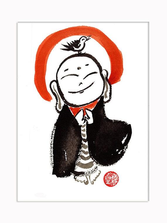 Jizo buddha pittura jizo buddha zen pennello pittura a di for Arredamento stanza yoga