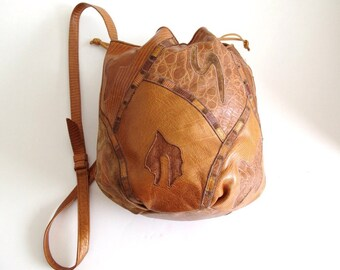 Vintage Sharif Leather Bucket Bag Crossbody 80's  Multi Patchwork Honey