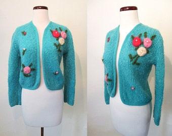 "Adorable 1950/1960's Turquoise Bolero Sweater w/ Three Dimensional Flowers & Pearls ""Blairmoor Original"" Rockabilly Sweater Girl Size-Medium"