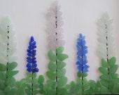 Glass Flowers Art, Genuine Beach Glass Lupins, Wall Art, Foral Art, Beach Decor, Wall Hanging