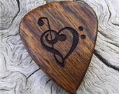 Wood Guitar Pick - Premium Quality - Handmade With Caribbean Rosewood - Laser Engraved Both Sides - Actual Pick Shown - Artisan Guitar Pick