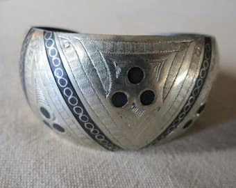 Moroccan Silver Overlay Etched Cuff Bracelet