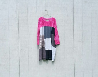 funky tshirt knit fall winter tunic upcycled romantic Upcycled clothing Patchwork Eco Dress / Artsy Dress by CreoleSha