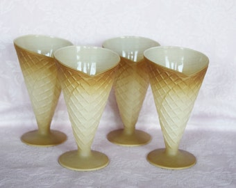 Set of 4 Italian Soda Glass Waffle Sugar Cone Ice Cream Sundae Dessert Figural Shape Fountain Parlor Serving Dish Embossed Display Italy Nos