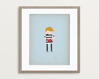 Boy Mending a Broken Heart - Customizable 8x10 Archival Art Print