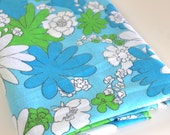 Vintage Sheet Fabric vintage reclaimed bed sheet bed linen fabric retro camper decor fabric hippie crazy blue green daisy quilting fabric