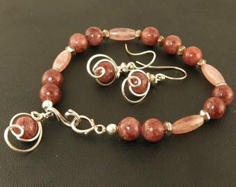 Wine Red Beaded Single Strand Bracelet Gift Set, Muscovite Stone Silver Bracelet Jewelry Set, Unique Bracelet Semi Precious Silver Gift Set