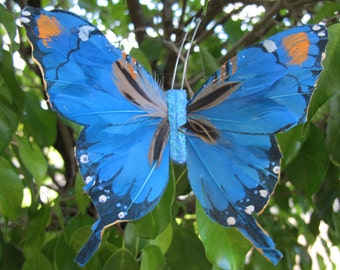 BLUE Feathers  Butterfly Hair Clip  - Weddings - 5 X 3.5 inches