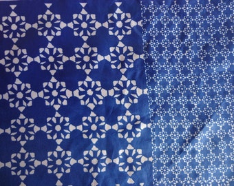 Vintage Vera Neumann Scarf, Geometric Pattern, Blues and Whites