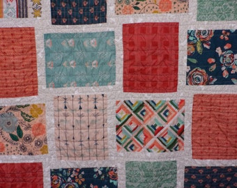 Fleet and Flourish Twin Size Patchwork Quilt - Art Gallery