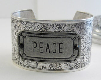Peace,Cuff Bracelet,Peace Bracelet,Cuff Bracelet,Bracelet,Silver,Antique Bracelet,Boho Bracelet,Gypsy Bracelet,Jewelry,valleygirldesigns