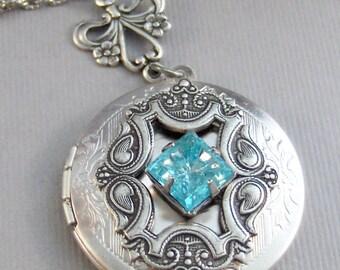 Princess Aquamarine,Aquamarine Necklace,Aquamarine Locket,Birthstone Necklace,Aquamarine Birthstone,Antique Locket,Blue Lcoket,Blue Necklace