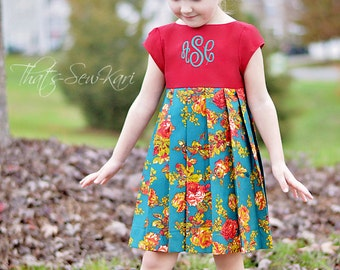 Merry Dress PDF Sewing Pattern, including sizes 12 months-12 years, Long Sleeve Dress Pattern, Girls Pattern, Holiday Dress Pattern