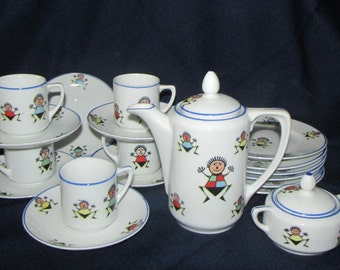 Vintage Children's Tea Set Germany Rudolstadt 40's-50's Golliwogg Stick Figures