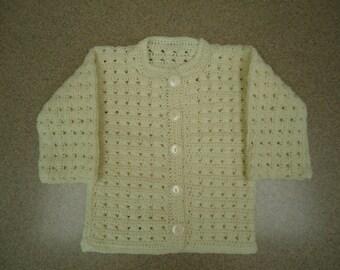 Toddler Girl Sweater / Cardigan in Beige - Hand Crocheted