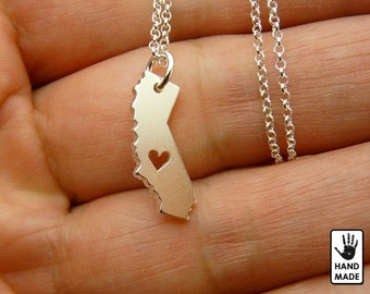 Tiny CALIFORNIA State Map Handmade Personalized Sterling Silver .925 Necklace in a gift box