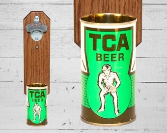 Tennis Wall Bottle Opener with Vintage Tennis Center of America Beer Can Cap Catcher -  Gifts for Groomsmen